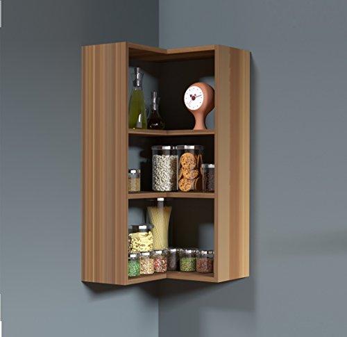 HOMIDEA Side Wandregal - Eckregal - Bücherregal - Küchenregal - Hängeregal in praktischem Design (Nussbaum)
