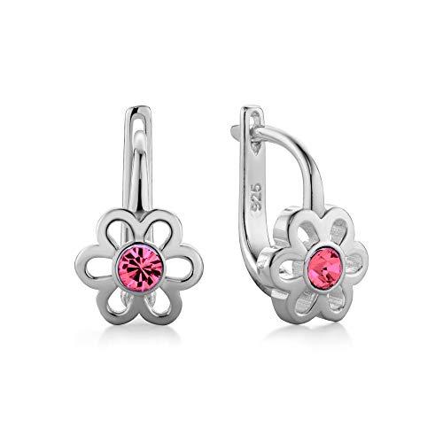 butterfly Mädchen Damenohrringe Sterling-Silber 925 Rosa Swarovski Elements Original Blume Satin-Beutel Geschenk