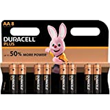 DURACELL Battery, Plus Power, Aa 5+3PK, Duralock