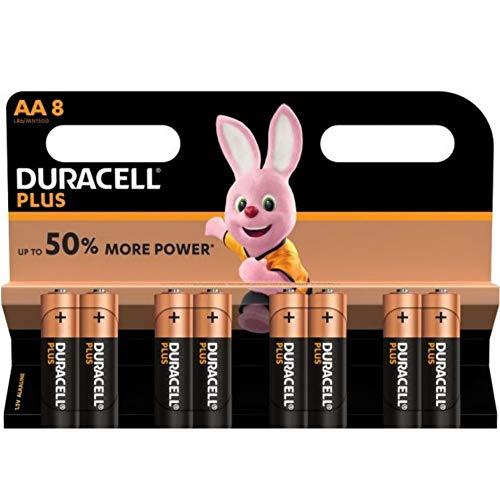 DURACELL Battery, Plus Power, Aa 5+3PK, Duralock