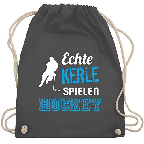 Shirtracer Eishockey - Echte Kerle spielen Hockey - Unisize - Dunkelgrau - eishockey tasche - WM110 - Turnbeutel und Stoffbeutel aus Baumwolle