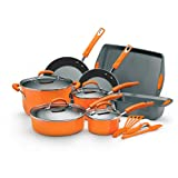 Rachael Ray Porcelain Enamel II Nonstick 15-Piece Cookware Set, Orange