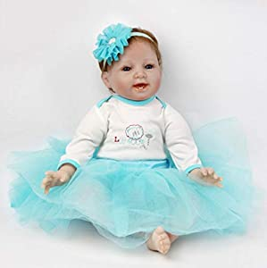 Conforms to the safety requirements of ASTM F963 and EN71 for ages 3+. The reborn doll measures Approx 22 inches (55 cm) from head to toe, and weights 2.6lbs approximately. The baby has soft vinyl head and 3/4 limbs and a lovely soft cotton jointed b...