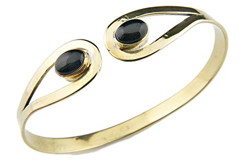 mantraroma Armreif Armband Messing golden Onyx schwarz (932-05-006-03)