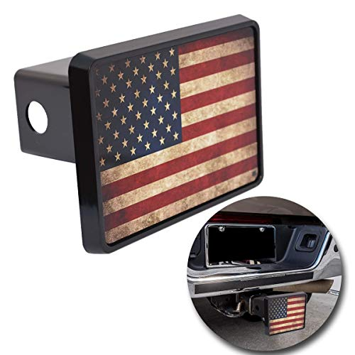 VaygWay American Flag Hitch Cover – USA Flag Trailer Hitch Cover – Patriotic Flag Plug Hitch Cover