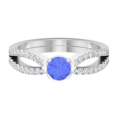 Anillo solitario de dos tonos de 3/4 quilates con tanzanita y diamante, anillo de vástago dividido (tanzanita de 5 mm de corte redondo), 14K Oro blanco, tanzanita, Size:EU 50