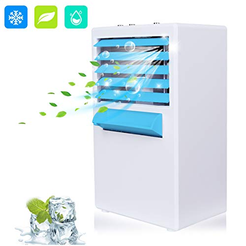 Zhina Mobiles Klimagerät, Mini Luftkühler Mobile Klimaanlage Klein, Luftbefeuchter, Tragbare Klima Ventilator mit 3 Geschwindigkeitsstufen für Büro Schlafzimmer Haushalt