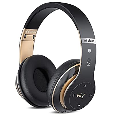 6S Wireless Headphones Over Ear, [52 Hrs Playtime] Hi-Fi Stereo Foldable Wireless Stereo Headsets Earbuds with Built-in Mic,Volume Control, FM (Black & Gold) by Junlay Sports