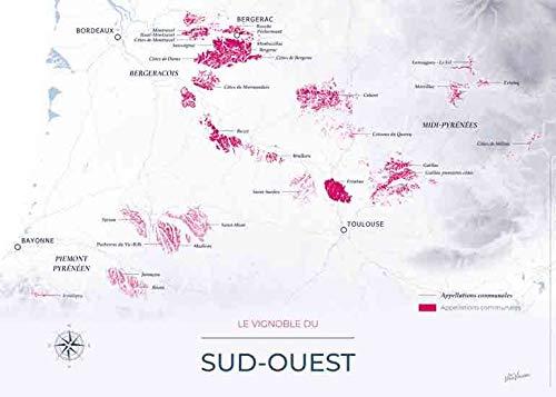 geoVINUM Carte des vins et du vignoble du Sud Ouest