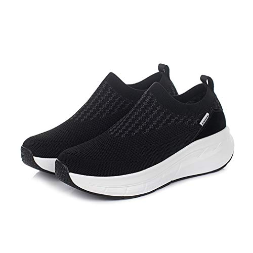 Zapatos de cuña de Malla para Caminar para Mujer Zapatillas de Deporte con Parte Inferior de balancín tonificantes Zapatillas de Plataforma Ligeras Antideslizantes para Exteriores