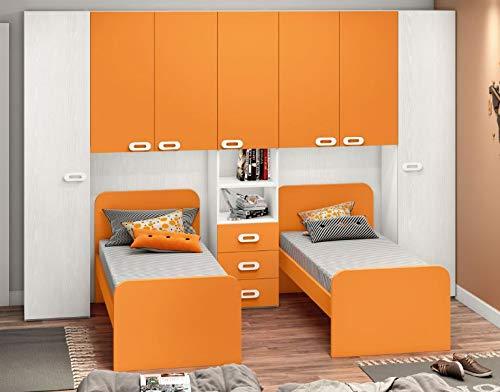 Cameretta Ponte con due letti. Mod. Zanzibar Colore in foto: Bianco Frassinato - Arancione.