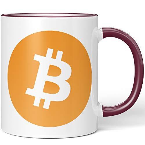 JUNIWORDS Tasse, Bitcoin Logo Symbol (1000272), Wähle Farbe, Bordeaux