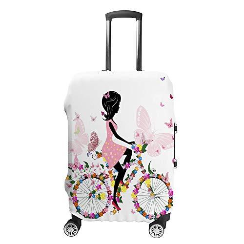 Chehong Maleta cubierta de equipaje niña Bicicletas mariposa rosa viaje Trolley caso protector lavable fibra de poliéster elástico a prueba de polvo