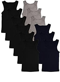 Andrew Scott Basics Boys  12 Pack Color A-Shirt Sport Tank Top Undershirts  12 Pack - Black/Gray/Navy M