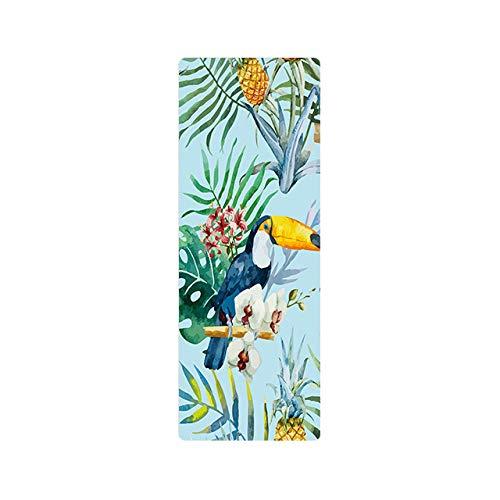 AGAGRG Esterilla de yoga con estampado de hojas verdes, antideslizante, esterilla de yoga Tpe Eco, 1,5 mm, ultrafina, unisex, para el hogar, gimnasio, fitness, pilates, aeróbico, yoga caliente