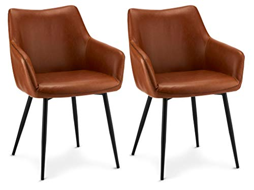 Furnhouse Set of 2 Brown Soft Faux Leather Uphostered Kitchen Dining Lounge Leisure Chairs Armchairs Maria, Armrests & Backrest, Black Metal Legs, SH: 47 cm, 56x56x81