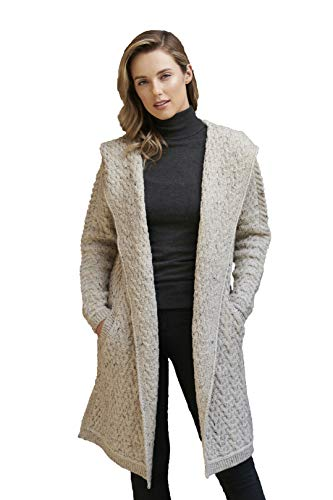Aran Crafts Women's Cable Knit Wool Herringbone Shawl Hood Coat (HD4872-SM-OAT)