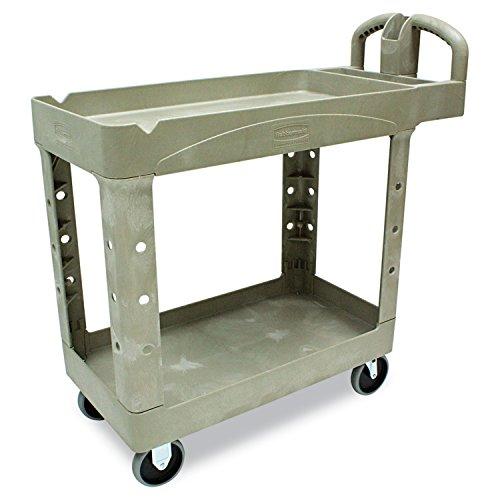 Price comparison product image Rubbermaid Commercial 450088BG Heavy-Duty Utility Cart Two-Shelf 17-1 / 8w x 38-1 / 2d x 38-7 / 8h Beige