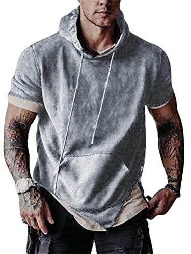 Onsoyours Camiseta de Manga Corta con Capucha para Hombre Slim Fit Casual Tops Camisa Deporte Color Sólido T-Shirt Verano Sport Running Fitness A Gris M