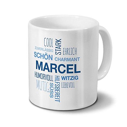 printplanet Tasse mit Namen Marcel Positive Eigenschaften Tagcloud - Blau - Namenstasse, Kaffeebecher, Mug, Becher, Kaffeetasse
