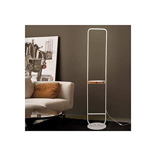 Vloerlamp dimbaar, staande licht, booglamp, led 10w retro woonkamer licht, vloerlicht met houten tafel, draadloze opladen van smartphones, for eettafel, kantoor (Color : White)