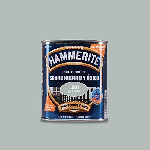 Hammerite Esmalte directo sobre hierro y óxido Liso Brillante Gris Plata 750 ml