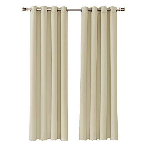 Amazon Brand – Umi Cortinas Opacas Telas Termicas Aislantes Frio Calor Ruido Luz para Salon Dormitorio 2 Paneles 140 x 245 cm Beige Oscuro