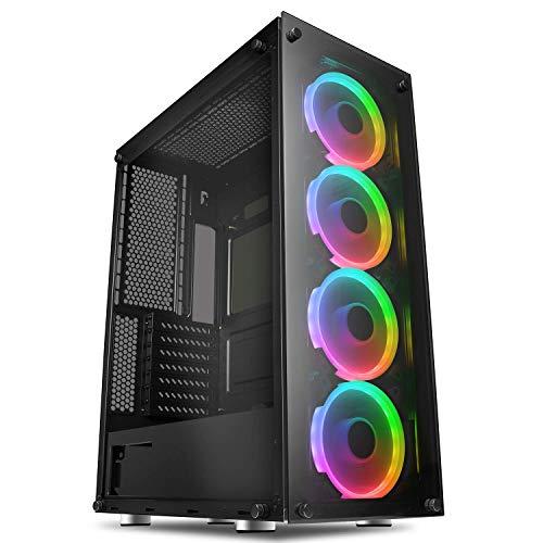 GameMax Predator Full-ATX PC Gaming Case, ARGB, Full Tempered Glass Side...