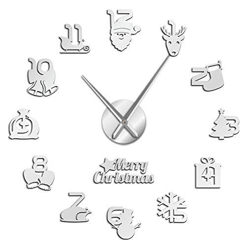jieGorge Christmas Frameless DIY Wall Mute Clock 3D Mirror Surface Sticker Home Decor, Clock, for Christmas Day (Silver)
