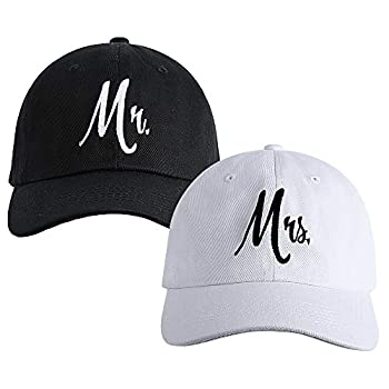 Matching Mr & Mrs Baseball Caps Bridal Gifts Newlywed Honeymoon Wedding Gifts Black and White