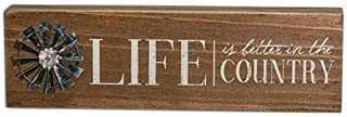 CWI Gifts Weathered Life is Better in The Country Table Sign with Windmill Accent, 3