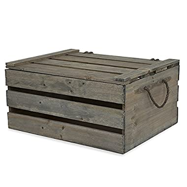 Wooden Crate Storage Box with Lid - Antique Green Grey - Large