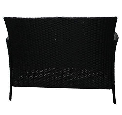 KMH®, 2-Sitzer Gartenbank aus schwarzem Polyrattan (#106068) - 4