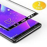 BANNIO [2 Stück] für Panzerglas für Samsung Galaxy Note 9, HD Ultra-klar Panzerglasfolie Full Sreen, 9H Festigkeit, Anti-Kratzen, Leicht Anzubringen, Vollständige Abdeckung - Schwarz