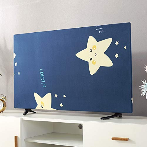 catch-L Interior Cubierta de TV Casa de 55 Pulgadas Cubierta Universal Planta Estrellas Impresión (Color : Blue, Size : 32inch)