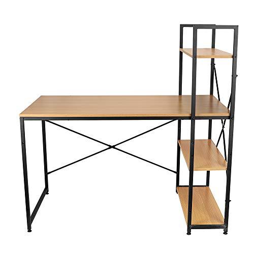 Escritorio económico, escritorio de estilo simple para el hogar o la oficina, estantería de 3 capas y escritorio, escritorio combinado para el hogar, escritorio de escritura simple, marrón