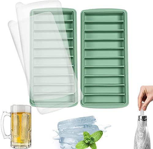 LessMo Silikon-Eiswürfelform, Eiswürfelform mit Deckel, LFGB Zertifiziert und BPA-Frei, Leicht zu Entnehmen, Verwendbar für Frozen Drinks, Whiskey und Cocktails, 10 Fächer (2, grün)