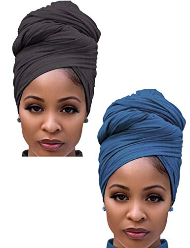 Turban Head Wraps for Black Women Jersey Hijab Scarves Cotton Fashion Long Plain Muslim -Denim & Dark Gray