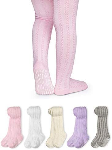 LA Active Baby Tights 5 Pairs Non Skid Slip Cable Knit Pink White Ivory Lavender Grey 12 24 product image
