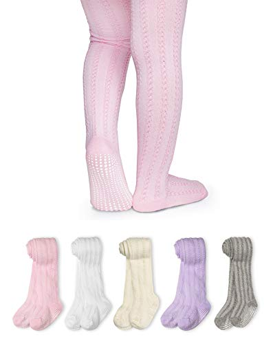 LA Active Baby Tights - 5 Pairs - Non Skid/Slip Cable Knit (Pink/White/Ivory/Lavender/Grey, 12-24 Months)