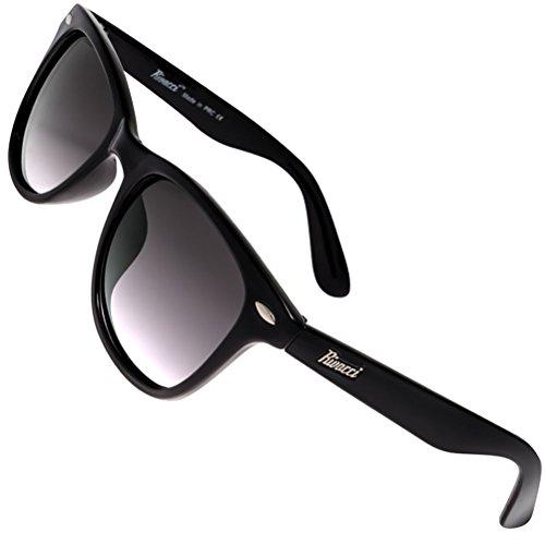 Rivacci - Gafas de sol polarizadas unisex, diseño clásico, protección UV 400, incluye funda y gamuza 04 Wayfarer Noir / Miroir Or - Rouge Polarisé M