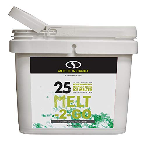 Snow Joe W/Scooper AZ-25-EB-BKT Melt-2-Go Nature + Pet Friendly CMA Blended Ice, 25 lb Bucket, Green