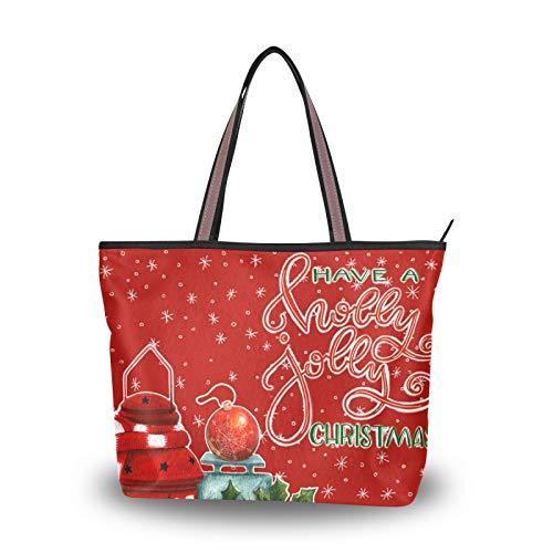NaiiaN Leichte Strap Tote Bag Handtaschen Umhängetaschen Geldbörse Shopping Winter Laterne Holly Weihnachtsferien für Mutter Frauen Mädchen Damen Student