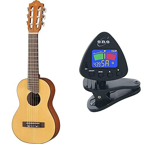 Yamaha GL-1 Guitalele natur – Perfekter Hybrid aus Gitarre und Ukulele – Kleine 1/8 Reisegitarre & Eno-Clip auf Gitarrentuner Clip auf Ukulele Tuner Bass Tuner Violine Tuner chromatischen Tuner