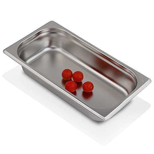 Greyfish GN-Behälter :: ungelocht :: geeignet für Gaggenau, Miele und Siemens Dampfgarer (Edelstahl, Spülmaschine geeignet, Gastronorm 1/3, B 32,5 x T 17,6 x H 6,5 cm)