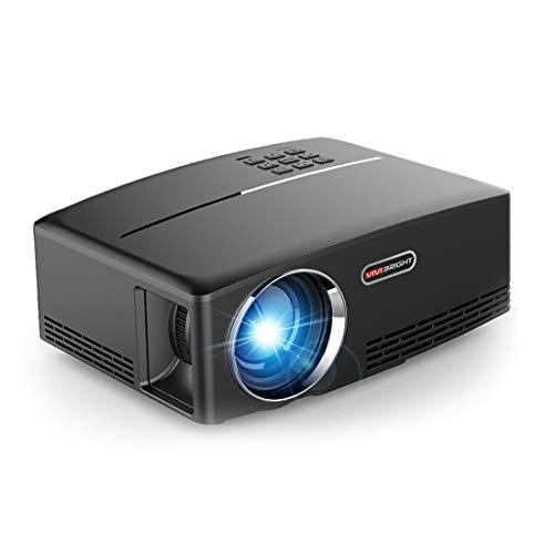jfhrfged GP80 Beamer Tragbarer Mini LED LCD 1800 Lumen 1080P Full HD Projector Kompatibel mit HDMI AV TV VGA USB (Schwarz, Unterstützte Auflösung: 1080P)