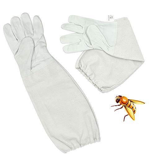 FEIGO Imkerhandschuhe Ziegenleder Bienenzucht 1 Paar Bienenschutz Handschuhe aus Ziegenleder mit belüftetem Ärmel für Werkzeuge für die Imkerei (49x17cm)