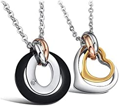 Stainless Steel Love Heart Ring Couple's Pendant Necklace