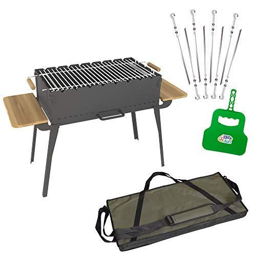 4big.fun Houtskoolbarbecue, inklapbaar, van staal (2 mm), incl. grillrooster, 8 spiesen, grillvakken en tas, grill met zijplateaus van natuurlijk hout, mangal voor 8 spiesen, voor sjasliek, BBQ (klapgrill)