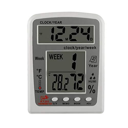 YUTRD ZCJUX. KT201 Digital LCD termometro Igrometro Temperatura Elettronica Temperatura umidità Meter Meteo Stazione meteorologica da Esterno Tester all'aperto Sveglia